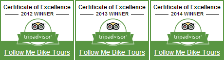 Follow Me Bangkok Bicycle Tours Trip Advisor Certificate of Excellence